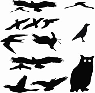 Window Alert Bird Stickers Silhouettes Glass Door Protection Save Birds & Owl,New Design (6 Sheets, 14 Silhouettes)