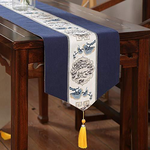 Branfan Tafellopers nieuwe Chinese moderne minimalistische Amerikaanse salontafel tafelkleed katoen en linnen retro tafellopers Zen Japanse TV kast doek 30 * 300cm