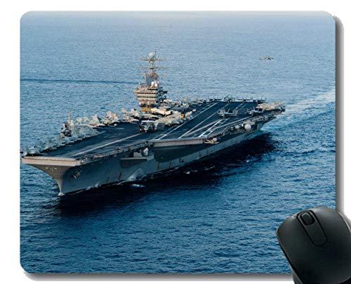 Mauspad mit genähtem Rand, Militär USS Abraham Lincoln (CVN 72) Kriegsschiff-Mauspad, Rutschfeste Gummibasis Mousepad