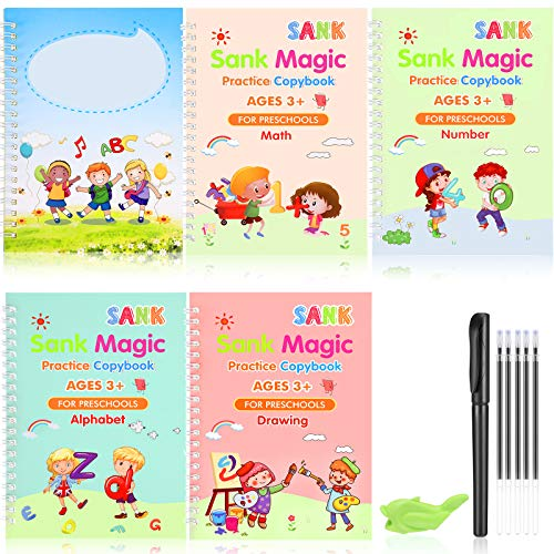 English Magic Practice Copybook Set of 12 Pieces Including Handwriting Copybooks and Pen Clip Pen Case Pen Refills, Reusable Kids Magic Writing Board for Calligraphic Letter Writing