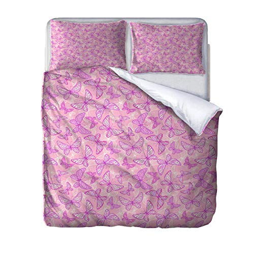 Superking duvet covers butterfly Quilt Cover Set with Zipper 100% Polyester with 2 Envelope Closure Pillowcases 50x75cm for Children adults woman 220x260cm