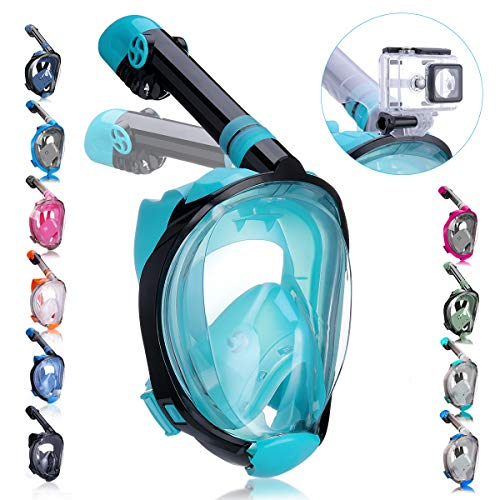 QingSong Full Face Snorkel Mask with Newest Breathing System, Give You A Natural & Safe Snorkeling Experience, Foldable 180 Degree Panoramic View Anti-Fog Anti-Leak Snorkel Set for Adults & Kids
