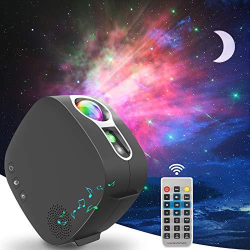 LED Sternenhimmel Projektor mit Bluetooth-Lautsprecher, ZOTO 3D Galaxy Sternenlicht Projektor Lamp mit 360° Drehung+Timer-Funktion, Aurora-Effekt+Silent-Design Nachtlicht für Baby Schlafzimmer, Party
