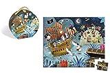 Janod - Puzzle con maleta redonda, En Búsqueda del Tresoro, 36 piezas (J02922)