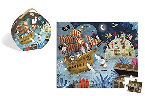 Janod - Puzzle con maleta redonda