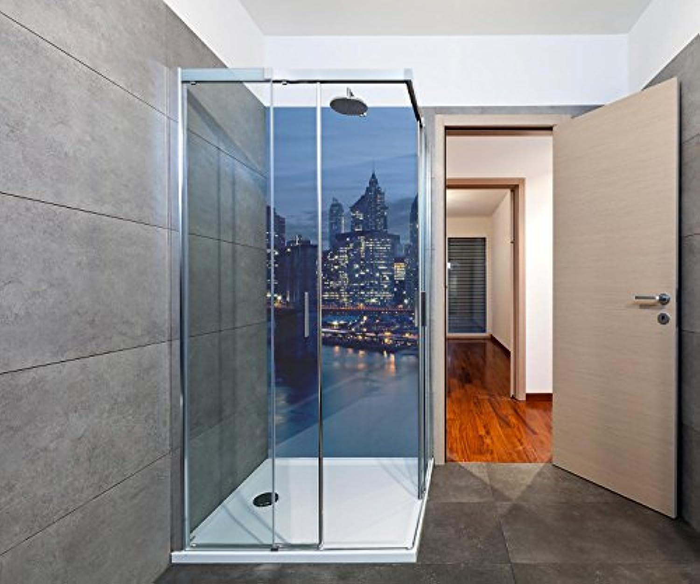 Wandmotiv24 Duschrückwand Skyline der Innenstadt von New York Duschwand Design 90 x 200cm (B x H) - Plexiglas 4mm, Fugen