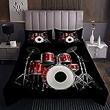 Erosebridal Drum Kit Bedspreads Classical Rock Music Quilt Set Musical Instrument Coverlet Set Red Black Bed Comforter Cover for Kids Youth Teen Boys Soft Microfiber Room Decoration 2 PCS Twin Size