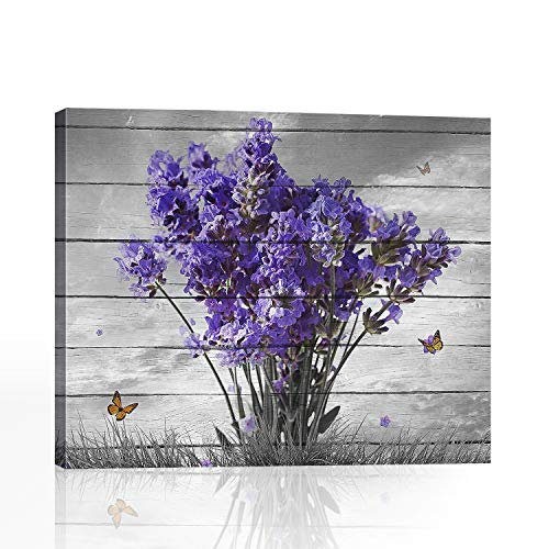 BOOPBEEP Bathroom Decor Purple Lavender Floral Plants Butterfly Animal Hd Prints Picture Craft Canvas Wall Art Painting Wooden Framed Stretched Vintage Rectangle Wall Artwork Ready to Hang (16'x20')