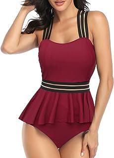 SMENG Costume da bagno da donna 2 pezzi con boyshort Stripe Tankini Costume da bagno