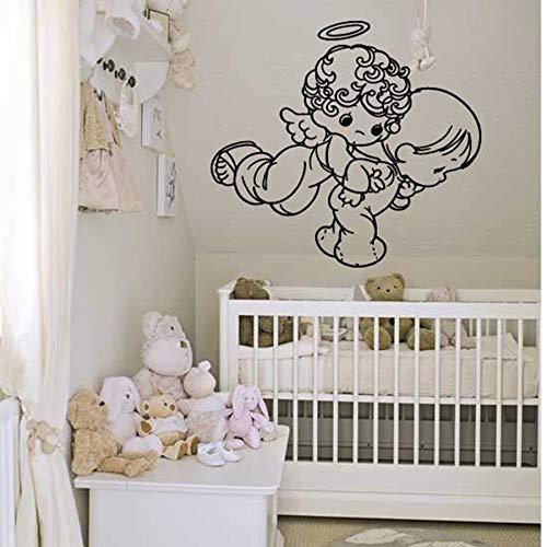 wZUN Dormitorio habitación de bebé decoración del hogar ángel Lindo bebé alas guardería Vinilo Etiqueta de la Pared extraíble 85X93 cm