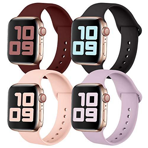 KUNYOS Juego de 4 pulseras compatibles con Apple Watch, 38 mm, 42 mm, 40 mm, 44 mm, silicona suave, repuesto de pulsera deportiva compatible con iWatch Series SE/6/5/4/3/2/1