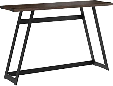 WE Furniture Industrial Farmhouse Round Accent Entryway Table, 46 Inch, Walnut Brown