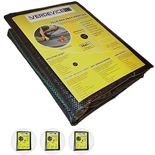 VERDEVICE83 Telo Pacciamatura Drenante Traspirante 10x1m Elimina Erbacce - Telo per Pacciamatura Nero Resistente Stabilizzato UV - Telo Pacciamatura Orto Giardino Pavimento - Telo Anti Erbacce