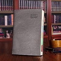 日記2021、ノートとイヤープランナー、内ポケット付きハードカバー日記、ポータブル日記プランナー、6色-グレー