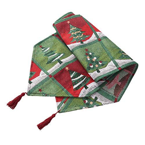VOSAREA Weihnachten Tischläufer Weihnachtsbaum Muster mit Quaste Tischdecke Weihnachten Tischdeko 33x180cm (Grün)