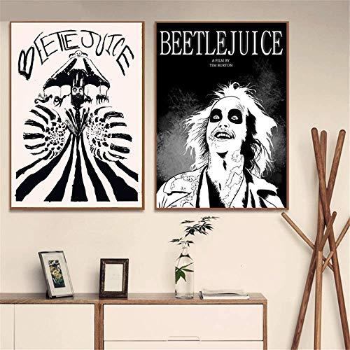 Arte de la lona Paredes Pintura 2x40x60cm sin marco Beetlejuice Dibujos animados Estilo cómico Carteles e impresiones Arte de la pared Imagen Cartel vintage Decoración decorativa para el hogar Affiche
