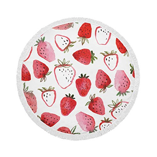 MQPPE White Round Beach Towel, Watercolor Beautiful Strawberry Fruit Large Circle Beach Towel with Tassels, Beach Blanket Sand Proof Oversized Yoga Mat Towel, 59 Inches