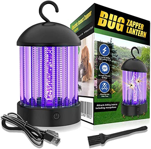 Electric Bug Zapper, Mosquito Killer Lamp Fly Insect Trap Waterproof, Rechargeable Non-Toxic Silent Mosquito Attractant Trap Portable Pest Control for Indoor Outdoor Backyard Patio Camping Office