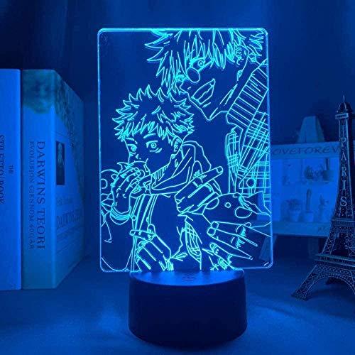 FFVVE Lámpara de noche LED 3D de la lámpara de anime de decoración de anime Satoru Gojo Jujutsu Kaisen Led noche luz Yuji Itadori Jujutsu Kaisen Lámpara Yuji Itadori-Remoto-Táctil