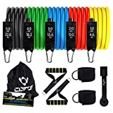 Resistance Bands Set Workout Bands - Includes 5 Stackable Exercise Bands, Black Foam Handles, Door Anchors, Ankle Straps, Carry Bag - for Resistance Training, Physical Therapy, Home Workouts, Yoga