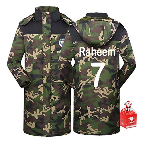 Manchester City Raheem Sterling 7# Men's Long Cotton Coat Thick Camouflage Warm Hoodie,Couple Clothes Winter Youth Gift XS-5XL (Color : A, Size : Large)