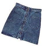 UOFOCO New Korean High Waist Zipper Skirt Women Pocket Student Short Denim Skirt