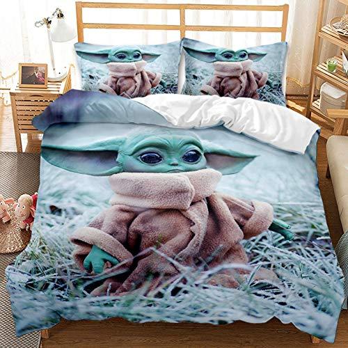 XFMF Star Wars Yoda Baby Mandalorian Juego de ropa de cama de microfibra, diseño reversible 3D, con cremallera, para niños y jóvenes, para dormitorio (135 x 200 cm)