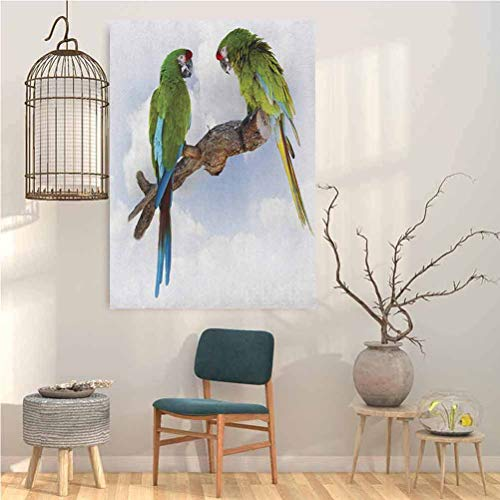 Parrot Modern Wall Decor Two Parrot Macaw on a Branch Talking Birds Clever Creatures of The Nature Wall Decor Pics for Living Room 12x16 Inch
