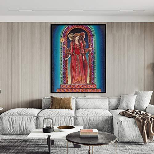 Godin op het kruispunt Giri canvas print en poster heidense mythe psychedelische Boheemse zigeuner heks godin kunst frameloze schilderij 60x83cm