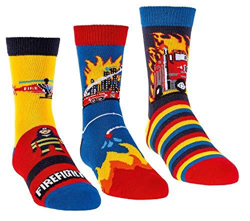 Kinder Öko Socken 6 Paar für Jungen/Mädchen,Schadstoffgeprüft, in vielen Mustern (Feuerwehr, 27-30)