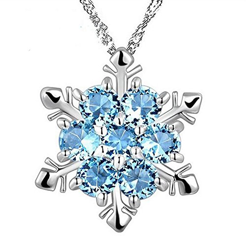 Xuxuou Collier Femme Homme Cristal Bleu Flocon de neige Pendentif flocon de neige Ornement vagues d'eau Collier