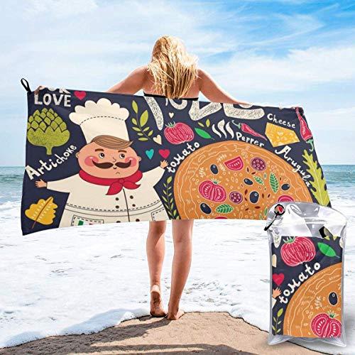 CHUNXU Schnell trocknendes Strandtuch, Chef Pizza bedruckte Mikrofaser, leichte Badetücher, super saugfähig, für Kinder und Erwachsene, 80 x 160 cm