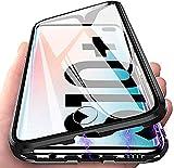 Orgstyle für Samsung Galaxy S10 Plus Hülle, Magnetische Adsorption Hartglas Hülle mit Vorderseite & Rückseite, Metallrahmen Hülle mit eingebaut Magnet, Ultra Dünn 360 Grad Schutzhülle-Schwarz