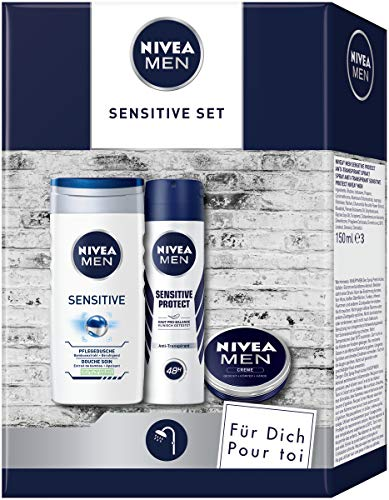 NIVEA MEN Sensitive Pflegeset, Geschenk für Männer mit Pflegedusche, Anti-Transpirant und Hautpflege Creme, Geschenkset für den gepflegten Mann