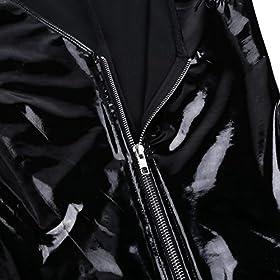 zdhoor Woman PU Leather Zipper Front Bodysuit Shiny V-Neck Wet Look High Cut Leotard Jumpsuit