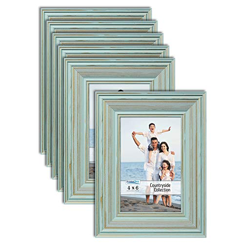 Icona Bay 4x6 Picture Frames (Eggshell Blue, 6 Pack), French Country Style Picture Frame Set, Wall Mount or Table Top, Countryside Collection