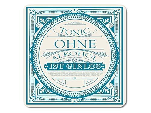 Interluxe LED Untersetzer - Tonic ohne Alkohol ist ginlos - leuchtende Glasuntersetzer für Gin-Tonic als Gastgeschenk, Mitbringsel oder Tischdeko