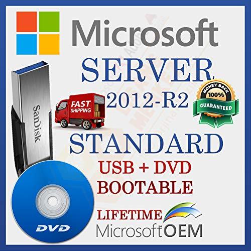 MS Server 2012-R2 Standard + 25 CAL de usuario Unidad USB + DVD , Versión completa , Envío rápido , NUEVO