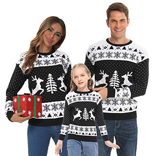 CALHOUN Gestrickte Pullover Kind Warm Familie Festliche Weihnachtspullover, Rundhals Weihnachten Sweater, Strickpullover Schwarz 2 Jahre alt