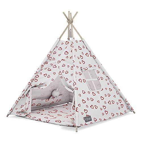 Elfique - Tienda de campaña para niños, con techo, color rojo y blanco