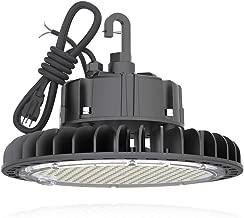 HYPERLITE 5000K LED UFO High Bay Lights 100W Coollight 14,000lm 1-10V Dimmable 5' Cable with 110V Plug Hanging Hook Safe Rope UL/DLC Approved for Barn Workshop Warehouse Residential