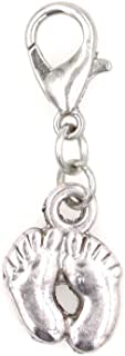 It's All About...You! Baby Feet Stainless Steel Clasp Clip on Charm 76Ac