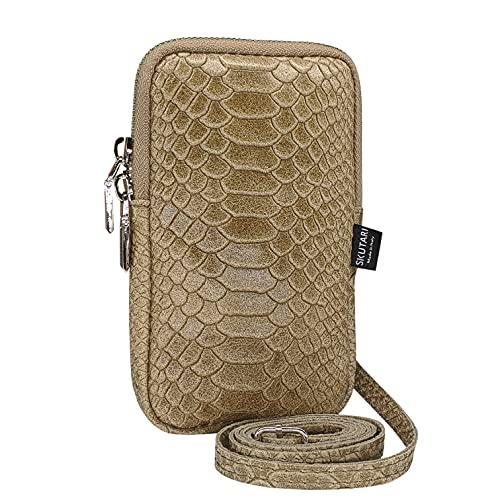 SKUTARI - Funda para teléfono móvil de piel de serpiente para mujer, de piel auténtica de alta calidad, bolso bandolera, bolso de piel para teléfono móvil, color Marrón, talla 11cm x 17cm 2cm