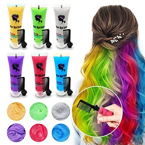 6PCS Temporary Hair Dye for Dark & Light Hair, Hair Chalk for Girls,...