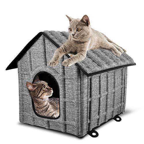 PUPPY KITTY Casetta per Gatti Interni con Materasso Rimovibile 52 x 42 x 42 cm, Cuccia Lavabile Pieghevole e Facile da Montare