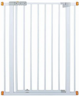 Pawhut Adjustable Pet Safety Gate Dog Cat Kids Barrier Home Fence Room Divider Stair Guard Mounting White 74.9H x 73-80W cm