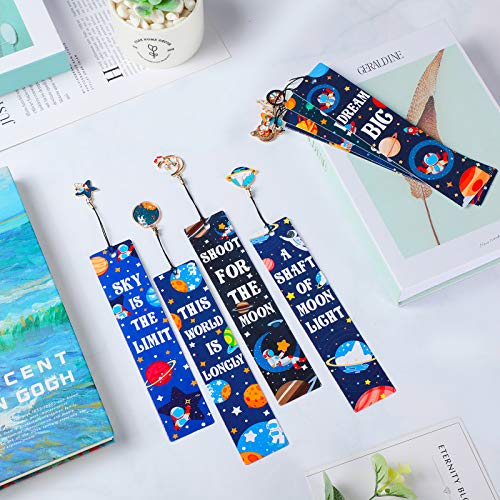 20 Pieces Space Theme Inspirational Quotes Bookmarks with Metal Charms School Classroom Prize Reading Party Favors Presents for Kids Boys Girls Adults Photo #5