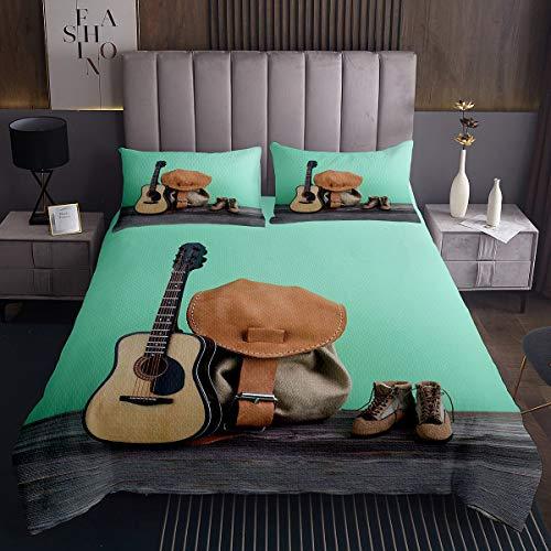 Loussiesd Colcha de vaquero occidental con temática de música y guitarra, colcha acolchada para niños, adolescentes, decoración occidental, juego de ropa de cama, 3 piezas, tamaño doble
