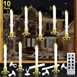 Kithouse 10 Set Christmas Window Candles Lights with Timer Battery Operated Electric LED Taper Candles Flameless Flickering for Windows Christmas Decor, Gold Candle Holders & Suction Cups Included