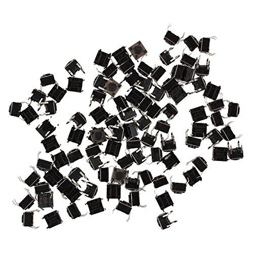 Interruptor - SODIAL(R) 100pzs 6x6x4.5mm Interruptor de boton pulsador de tacto tactil momentaneo de PCB pantalla 4 Pines DIP